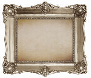 Old silver frame with empty canvas texture background. For your picture, photo or text Royalty Free Stock Photo