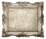 Old silver frame with empty grunge canvas with cracks Royalty Free Stock Photo