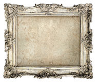 Old silver frame with empty grunge canvas Royalty Free Stock Photo