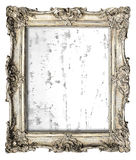 Old silver frame with empty grunge canvas Stock Photos
