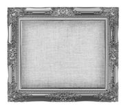 Old silver frame with empty grunge linen canvas for your picture. Photo, image. beautiful vintage background Royalty Free Stock Photo