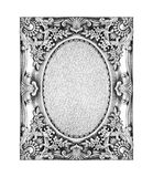 Old silver frame with empty grunge linen canvas Stock Images