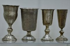 Old Silver Goblets from a Castle in Belarus stock photography
