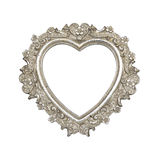 Old silver heart picture frame. Isolated on white with clipping path Royalty Free Stock Image