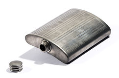 Old silver metal hip flask Stock Images