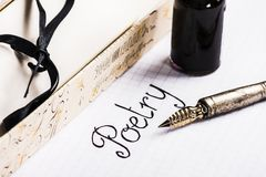 Old pen and ink bottle for poetry Royalty Free Stock Photography