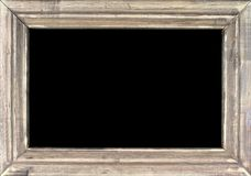 Old silver picture frame on black background. Old silver picture frame - on black background Stock Photo