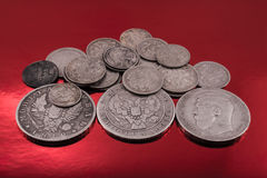 Old silver on red Royalty Free Stock Image