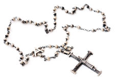 Old silver rosary royalty free stock photos