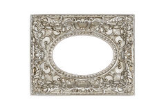 Old silver round picture frame. Isolated on white with clipping path Stock Photography