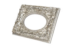 Old silver round picture frame. Isolated on white with clipping path Royalty Free Stock Images