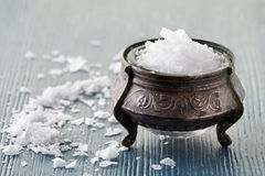 Old silver saltcellar royalty free stock photo
