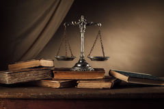 Old silver scale and books still life Royalty Free Stock Photos