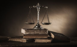 Old silver scale and books still life Stock Photography