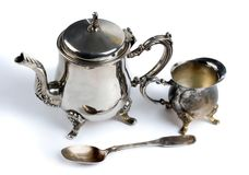 Old Silver Set.On White Background. Royalty Free Stock Images