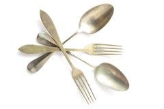 Old silver cutlery Stock Photos