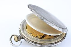 Old silver swiss pocket watch Stock Image