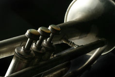 Old Silver Trumpet. Close up of valves and bell of old silver cornet stock image