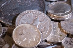 Old Silver US Coins. Of various denominations Royalty Free Stock Image