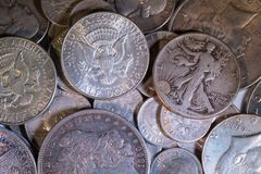 Old Silver US Coins. Of various denominations Royalty Free Stock Photo