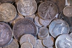 Old Silver US Coins Stock Photography
