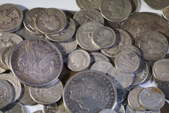 Old Silver US Coins. Of various denominations Stock Photography