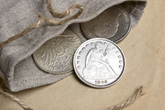 Old silver USA dollar Stock Images