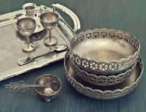 Old silver utensils Royalty Free Stock Image
