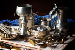 Old silver ware Stock Photography