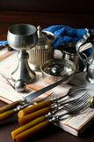Old silver ware Royalty Free Stock Images
