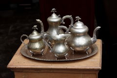 Old silver ware set. Close up Stock Photos