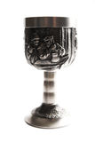 Old silver wine cup. On white Stock Images