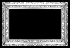 The old silver wooden frame. The old antique silver frame over black background Stock Photography