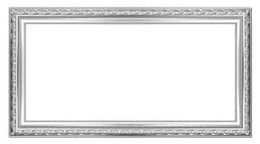 The old silver wooden frame. The old antique silver frame over black background Stock Images