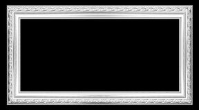 The old silver wooden frame. The old antique silver frame over black background Royalty Free Stock Image