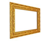 The old silver wooden frame. The old antique silver frame over black background Royalty Free Stock Photography