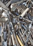 Old silverware. Piles of old silverware at the antique market Royalty Free Stock Images