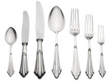 Old Silverware Set (Clipping Path) Stock Photography