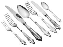 Old Silverware Set (Clipping Path) Royalty Free Stock Image