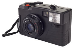 Old simple film camera isolated on white Stock Images