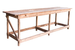 Old simplistic wooden table. Old simplistic wooden table on white background, work with path Stock Photography