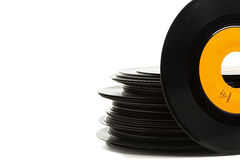 Old single vinyl records stack Stock Photography