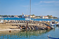 Old sinked wooden ship in Zadar Stock Images