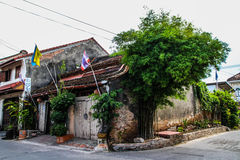 Old sinopotuguese house in Songkhla. Old house in Songkhla that had bomb when was World war 2. On that day Japanese bomber air plane bomb many place in Songkhla Stock Photo