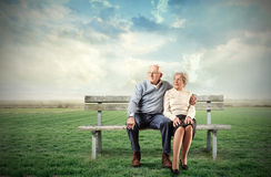 Old sitting couple Royalty Free Stock Image