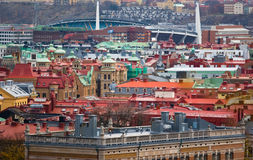 Old Sity Panorama. Rooftops and buildings of Geteborg, Sweden Royalty Free Stock Images