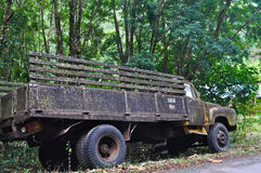 Old six-wheel trucks. On the rural road in Thailand stock photo
