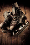 Old skates. Black and white photography Royalty Free Stock Photos
