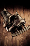 Old skates. Retouching in vintage style. Royalty Free Stock Photography