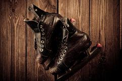 Old skates. Retouching in vintage style. Stock Image
